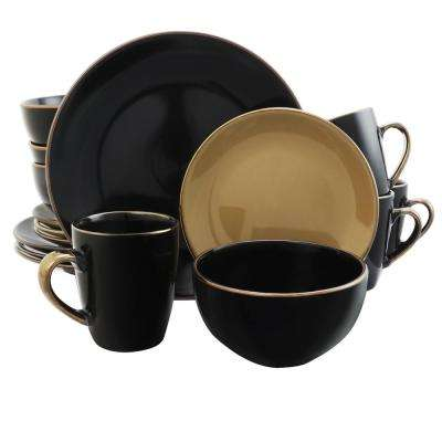 Cambridge Grand 16-Piece Black and Taupe Dinnerware Set