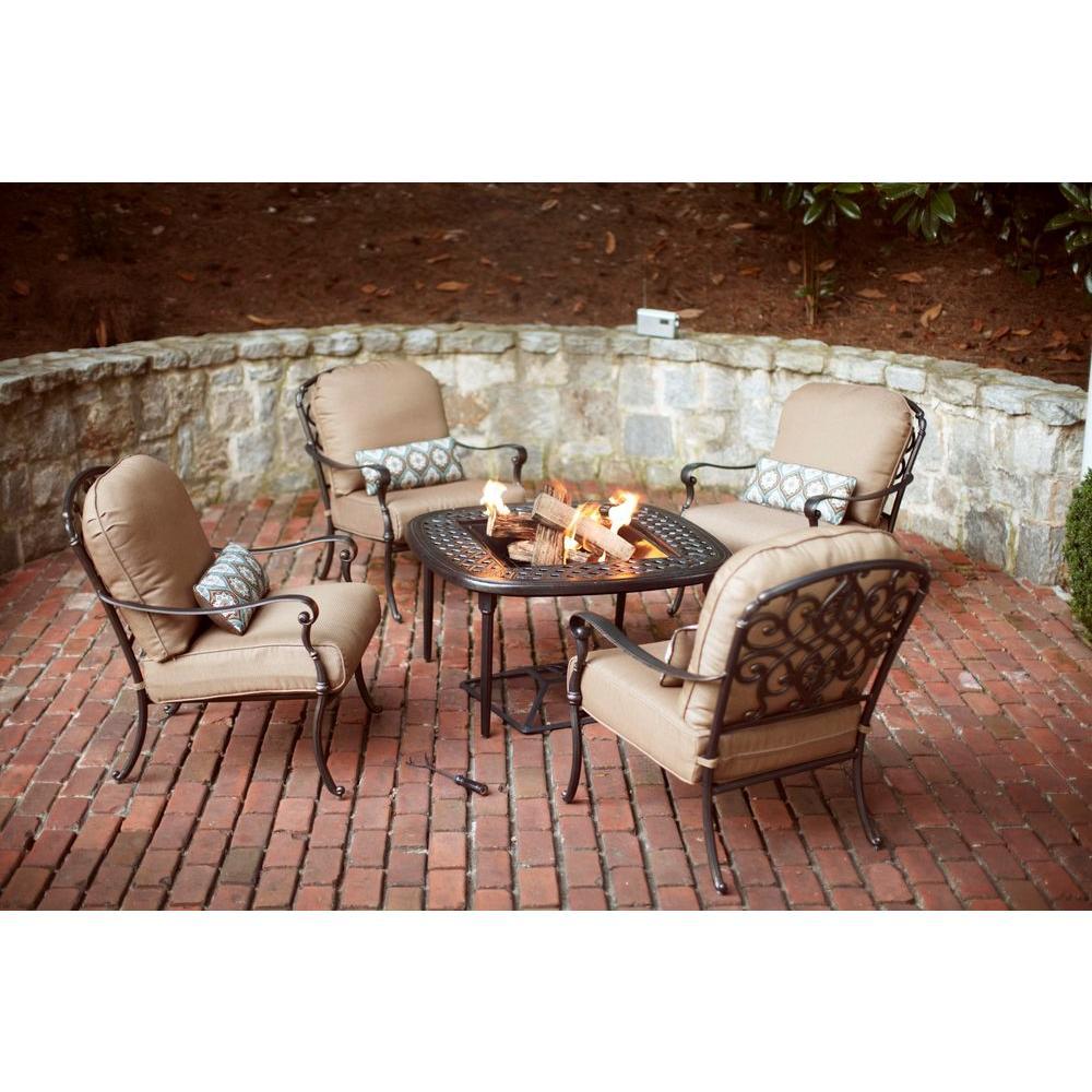 Hampton Bay Edington 2013 5-Piece Patio Fire Pit Chat Set with Textured Umber Cushions