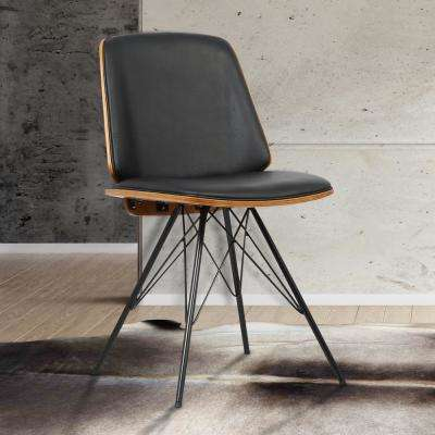 Inez 32 in. Black Faux Leather and Black Powder Finish Mid-Century Dining Chair