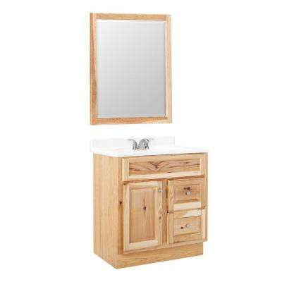 Hampton 30 in. W x 21 in. D x 33.5 in. H Bathroom Vanity Cabinet Only with Mirror in Natural Hickory