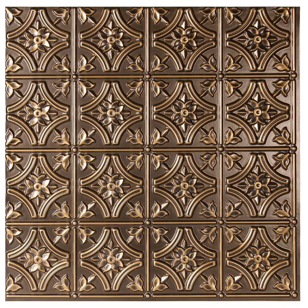 uDecor Valencia 2 ft. x 2 ft. Lay-in or Glue-up Ceiling Tile in Antique Gold (48 sq. ft. / case)