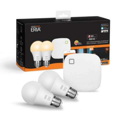 ERIA Soft White Smart Light 60W Equivalent A19 Dimmable CRI 90+ Wireless Lighting Starter Kit (2 Smart Bulbs and Hub)
