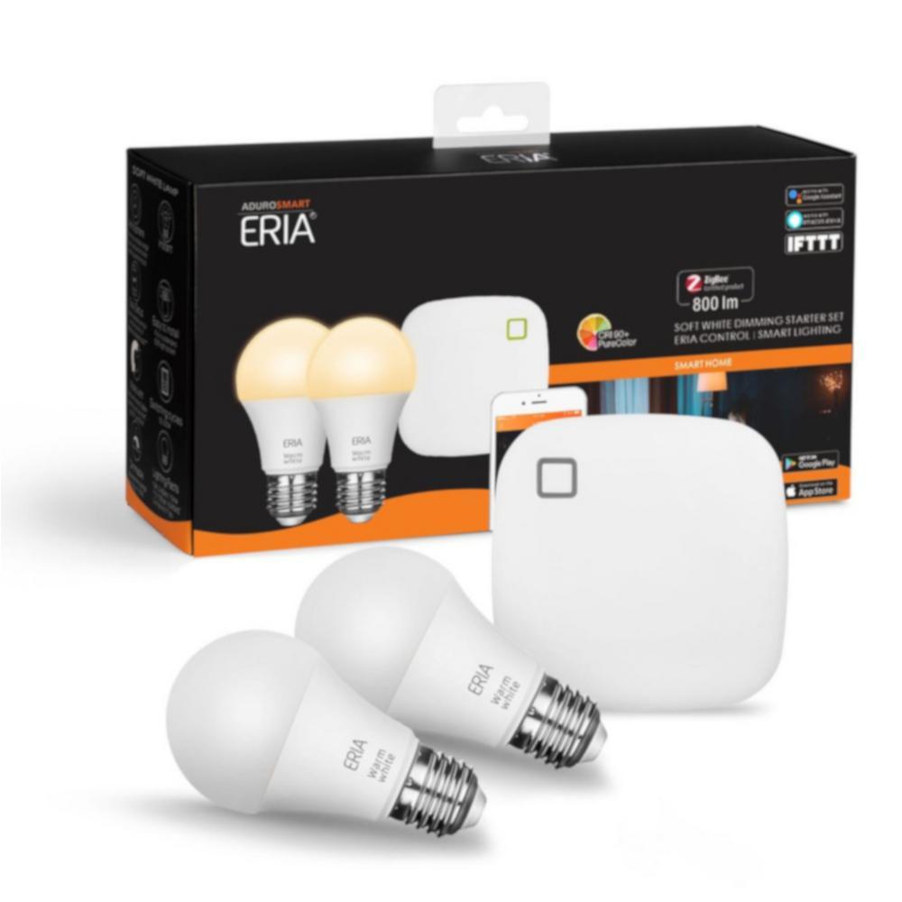 ERIA Soft White 60-Watt Equivalent A19 Dimmable CRI 90+ Smart Wireless Lighting Starter Kit (2 Bulbs and Hub)