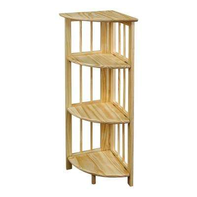 Natural 4-Shelf Corner Folding Bookcase