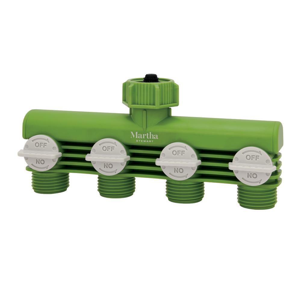 Martha Stewart Living 4 Way Garden Hose Tap Adapter Faucet Splitter Mts Ta4 The Home Depot