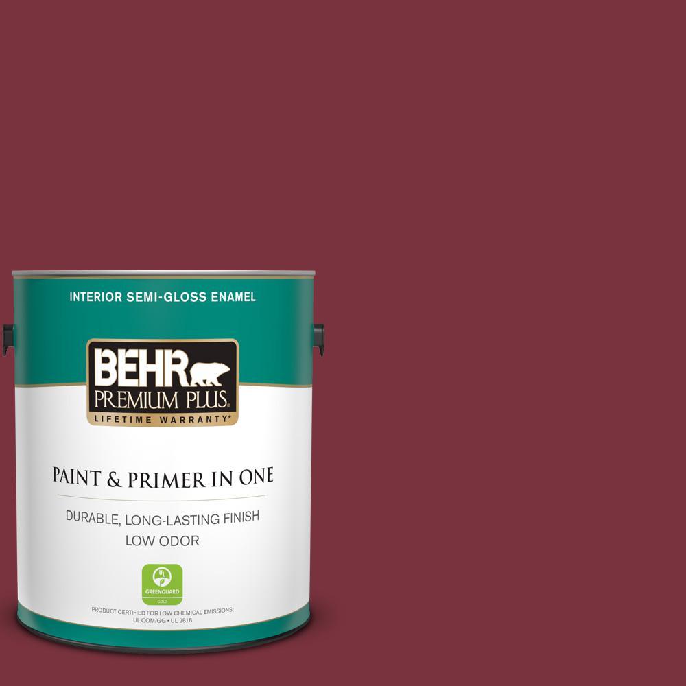 Behr Premium Plus 1 Gal S H 140 Cinnamon Cherry Semi Gloss Enamel Low Odor Interior Paint And Primer In One