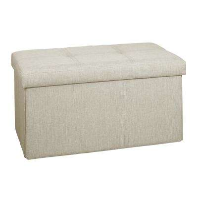 Ivory Linen Look Double Folding Ottoman