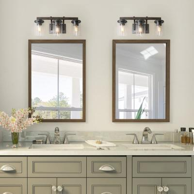 3-Light Farmhouse Bathroom Vanity Light Rust Gray Metal Vanity Light with Brushed Wood Accents and Clear Glass Shades