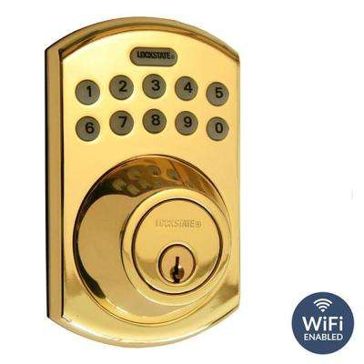 RemoteLock 5i WiFi Polished Brass Electronic Deadbolt Door Lock - Boulder