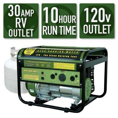 4,000/3,250-Watt Propane Gas Powered Portable Generator With Clean Burning LPG, 50 State Compliant