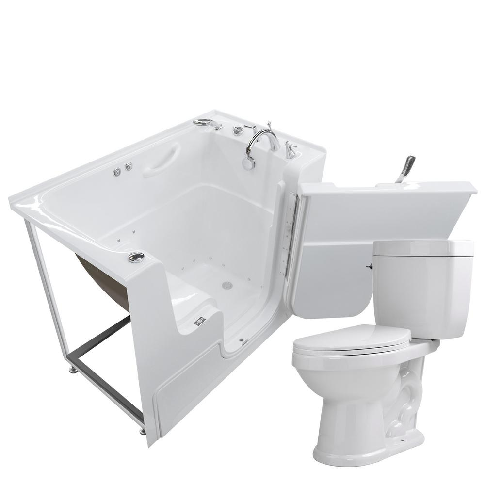 Universal Tubs Wheelchair Accessible 53 In. Walk In Air Bath Tub In White  With