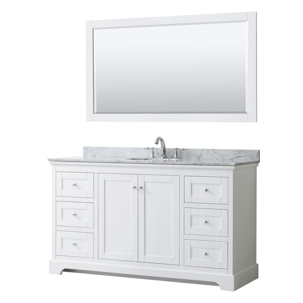 Wyndham Collection Avery 60 in. W x 22 in. D Bath Vanity in White with Marble Vanity Top in White Carrara with White Basin and Mirror