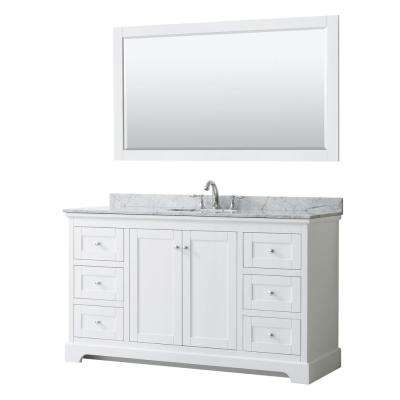 Avery 60 in. W x 22 in. D Bath Vanity in White with Marble Vanity Top in White Carrara with White Basin and Mirror