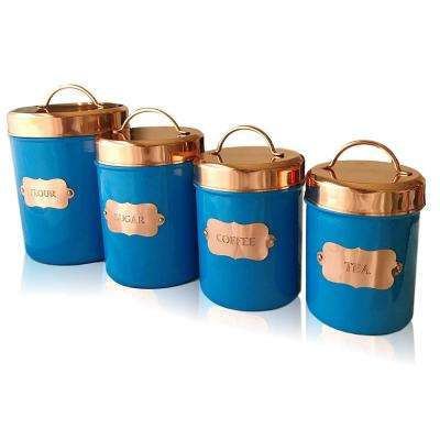 4-Piece Glossy Blue Food Canister Set with Copper Lids