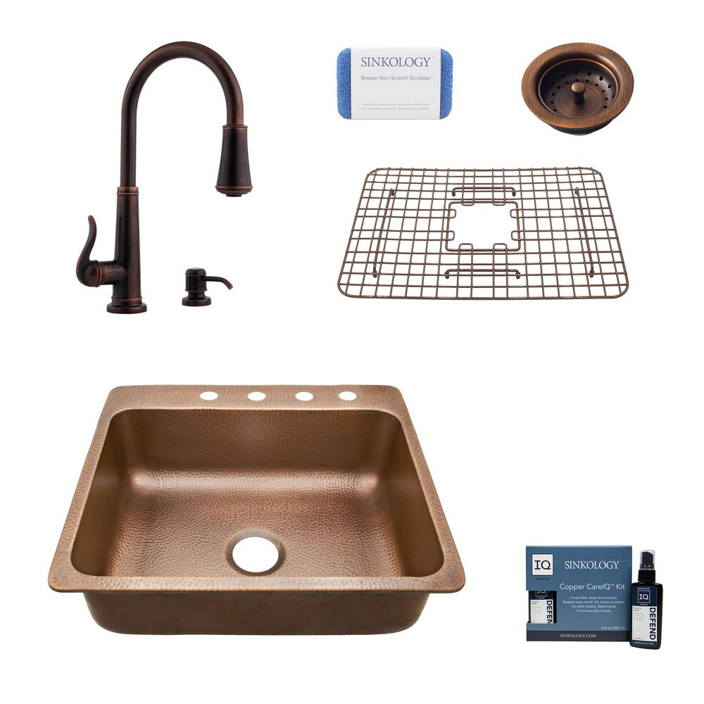 SINKOLOGY Rosa All-in-One Drop-In Copper 25 in. 4-Hole Single Bowl Kitchen Sink with Pfister Ashfield Faucet and Drain in Bronze