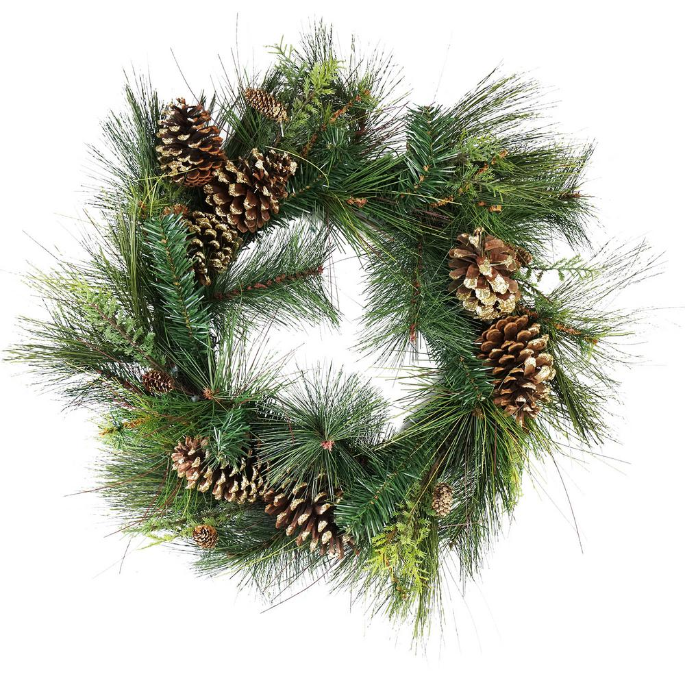unlit artificial mixed pine with pine cones and gold glitter christmas wreath