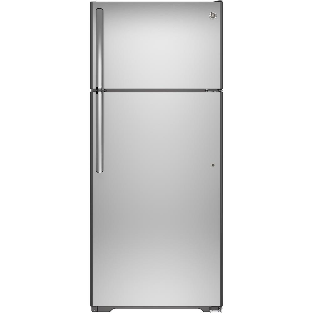 17.5 cu. ft. Top Freezer Refrigerator in Stainless Steel (Silver) GE appliances provide up-to-date technology and exceptional quality to simplify the way you live. With a timeless appearance, this family of appliances is ideal for your family. And, coming from one of the most trusted names in America, you know that this entire selection of appliances is as advanced as it is practical. Color: Stainless Steel.