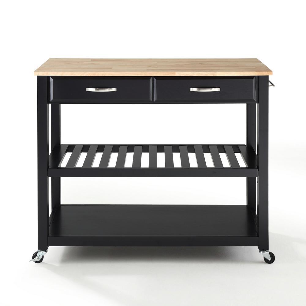 Crosley Black Kitchen Cart With Natural Wood Top KF30051BK