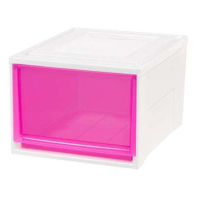 15.75 in. x 11.5 in. Deep Box Chest Drawer White with Pink Drawers (3-Pack)