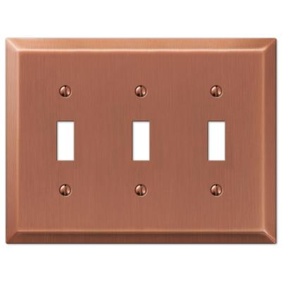 Metallic 3 Gang Toggle Steel Wall Plate - Antique Copper