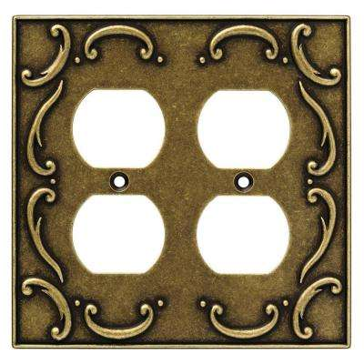 French Lace Decorative Double Duplex Outlet Cover, Burnished Antique Brass