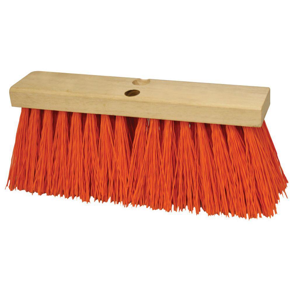 24 in. Orange Polypropylene Concrete Floor Broom-Wood Block
