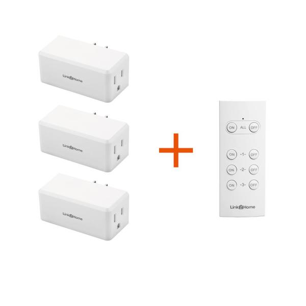 Wireless Indoor Remote Control Outlet Switch with 3 RCVs and 1 Remote