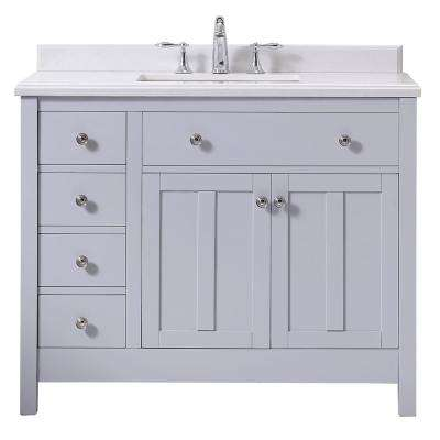 Newcastle 42 in. W x 21 in. D Vanity in Dove Gray with Cultured Marble Vanity Top in White with White Basin