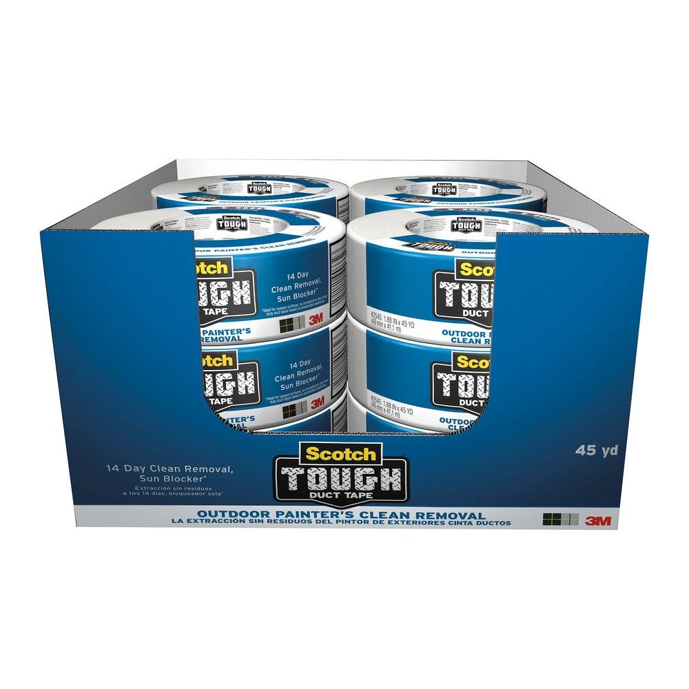 3M Scotch 1.88 in. x 45 yds. White Tough Outdoor Painter's Clean Removal Duct Tape (Case of 12)
