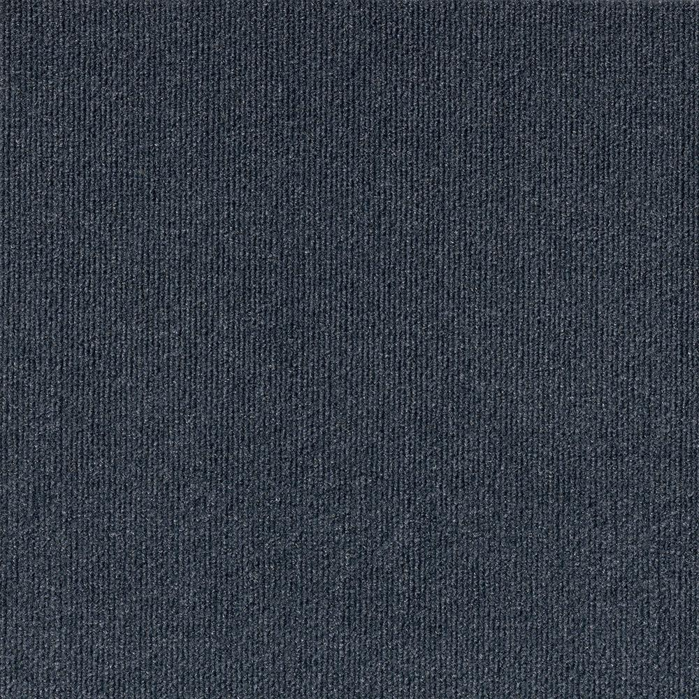 Elevations - Color Ocean Blue Ribbed Texture Indoor/Outdoor 12 ft. Carpet
