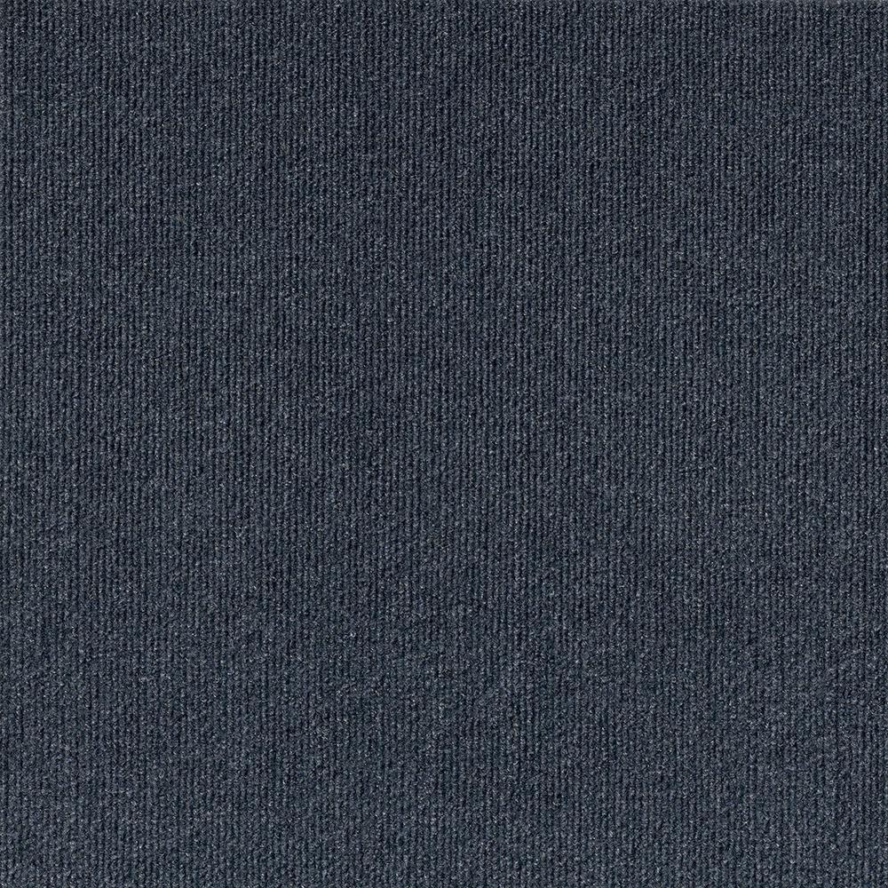 Elevations - Color Ocean Blue Ribbed Texture Indoor/Outdoor 12 ft. Carpet