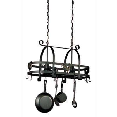 16.5 in. 2-Light Ebony Black Pot Rack