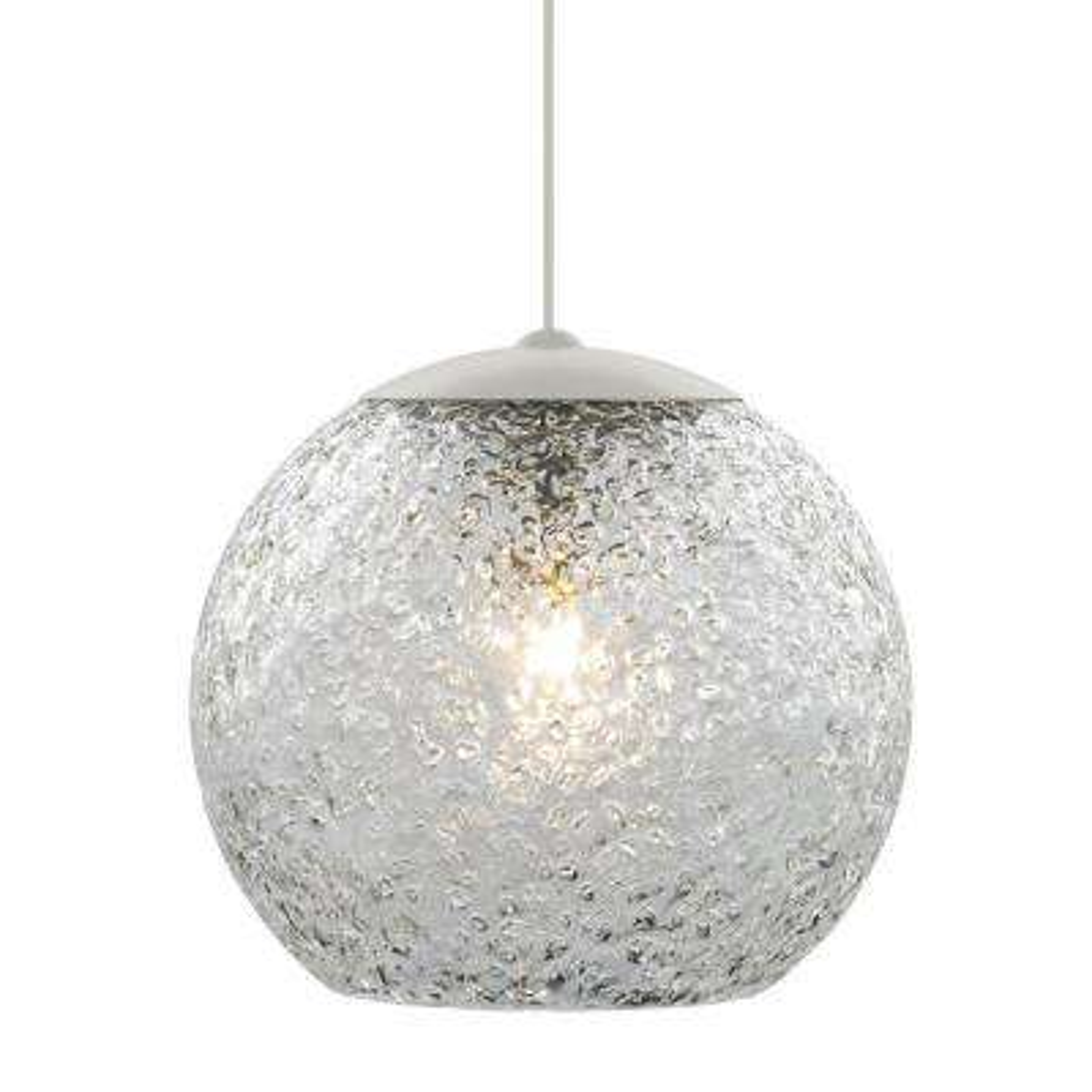 Mini-Rock Candy Round 1-Light Satin Nickel Clear LED Hanging Mini Pendant