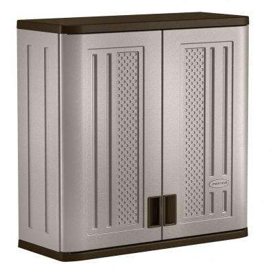 30 in. x 30.25 in. 1-Shelf Resin Wall Storage Cabinet in Platinum