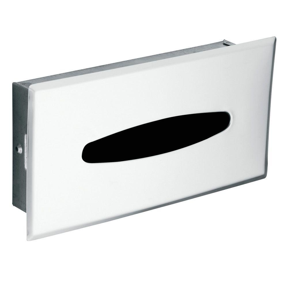 Chrome recessed facial tissue dispenser