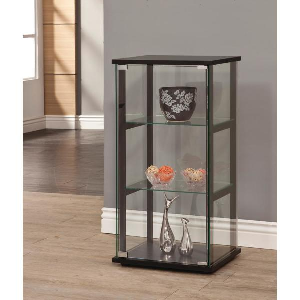 3-Shelf Glass Curio Cabinet Clear Storage Display Tall Tower Shelves Furniture