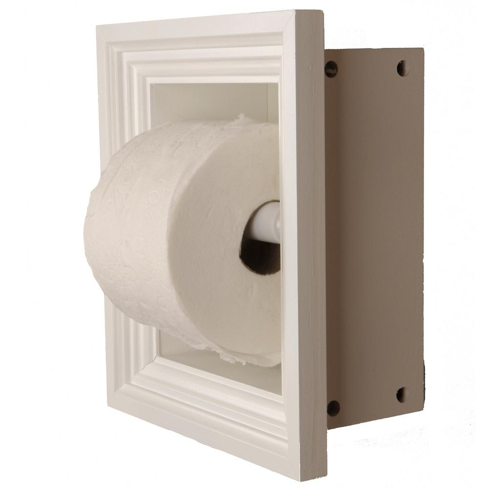 Newton Recessed Toilet Paper Holder 3 Holder in White with Melbourne Frame