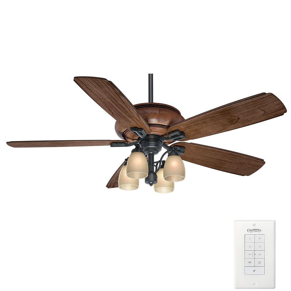 Heathridge 60 in. Indoor/Outdoor Aged Steel Ceiling Fan with Universal Wall Control