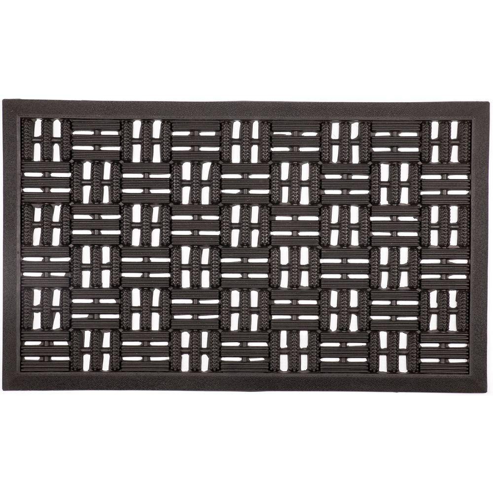 Entryways Scraper Squares 18 In. X 30 In. Recycled Rubber Door Mat