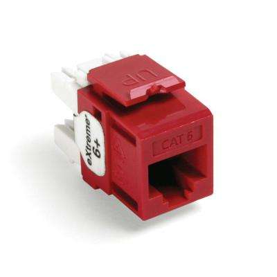 QuickPort Extreme CAT 6 Connector with T568A/B Wiring, Crimson