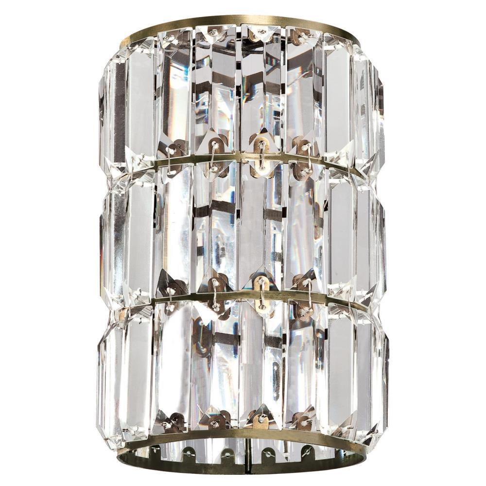 8-7/8 in. Crystal Prism and Antique Brass Cylinder Shade with 2-1/4