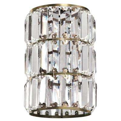8-7/8 in. Crystal Prism and Antique Brass Cylinder Shade with 2-1/4 in. Fitter and 6 in. W
