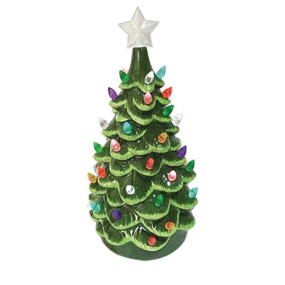 14 in. Christmas Green Ceramic Tree with Lights-6000 - The Home Depot