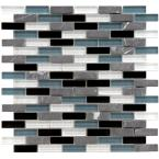 Tessera Subway Tuxedo 11-3/4 in. x 11-3/4 in. x 8 mm Glass and Stone Mosaic Tile