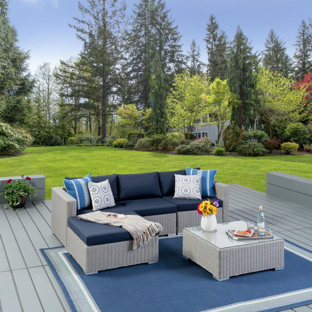 Noble House Santa Rosa Chalk Gray 5-Piece Wicker Patio ... on 5 Piece Sectional Patio Set id=85533