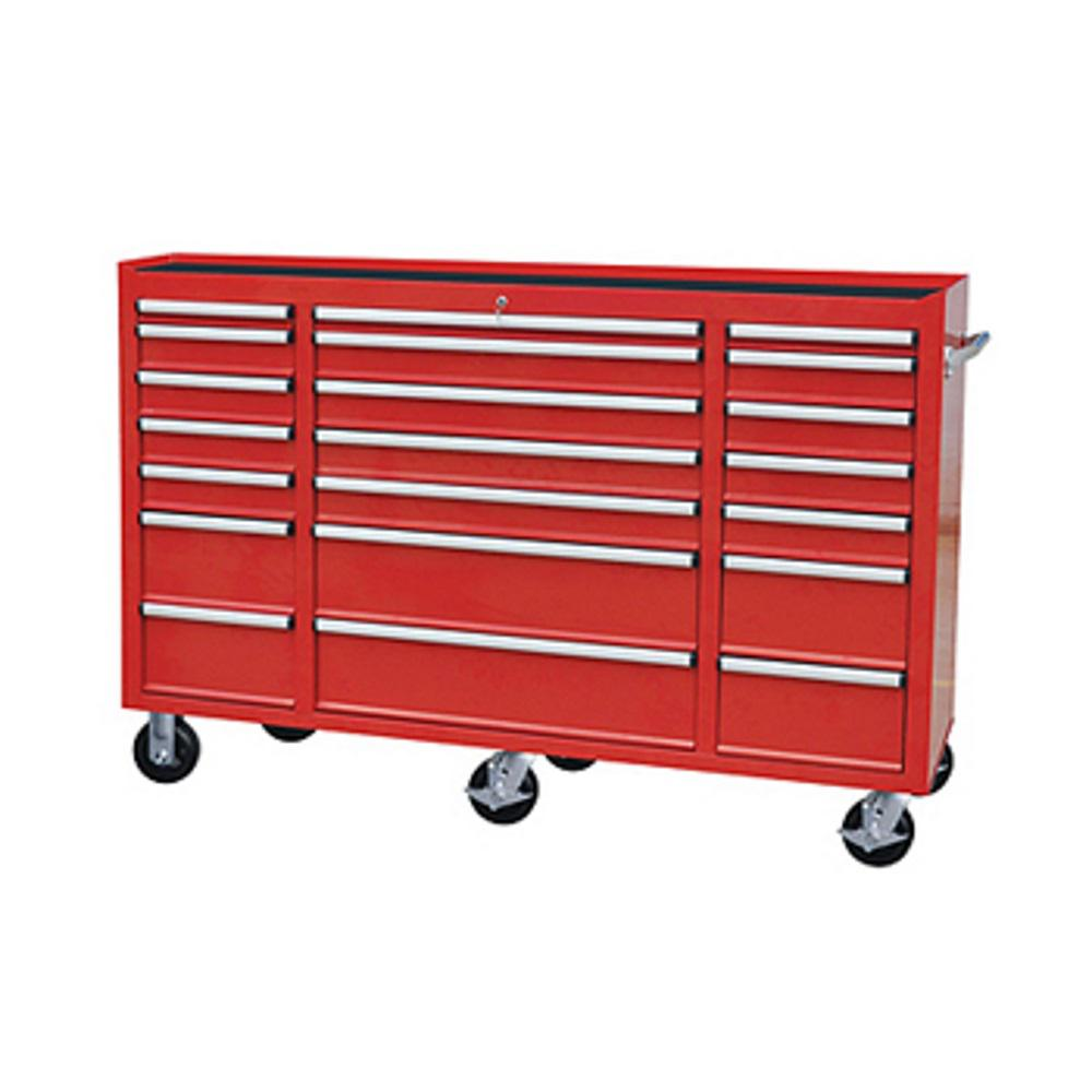 72 in. 21-Drawer Tool Chest Cabinet in Red