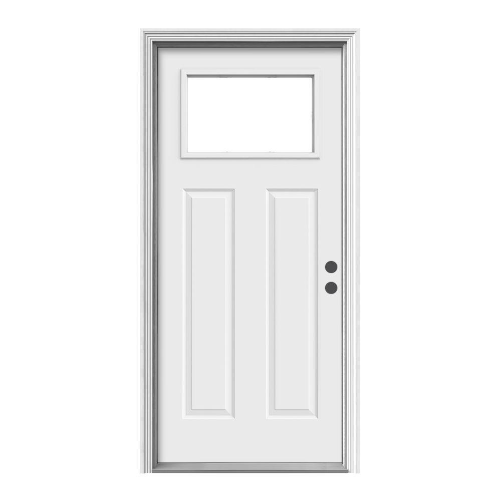 36 in. x 80 in. 1 Lite Craftsman Primed Steel Prehung