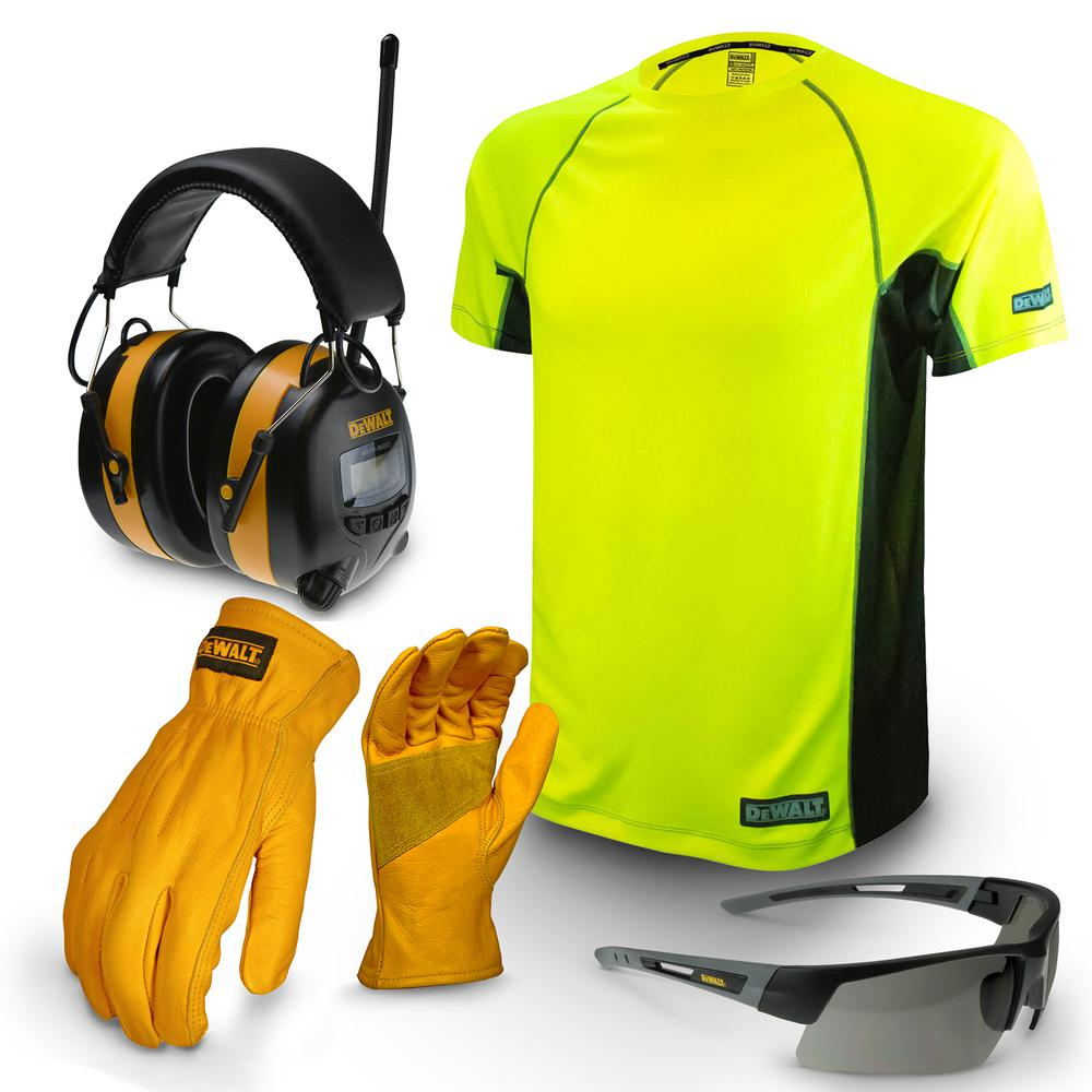 Large Apparel Work Kit with Earmuff, Leather Gloves, Safety Glass, and