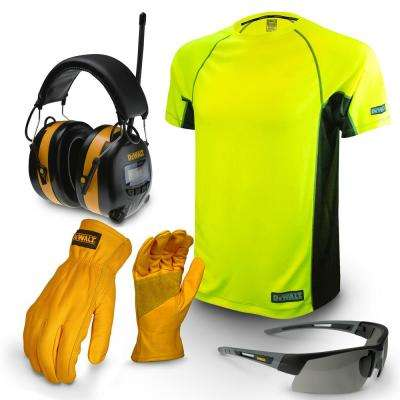 Large Apparel Work Kit with Earmuff, Leather Gloves, Safety Glass, and T-Shirt
