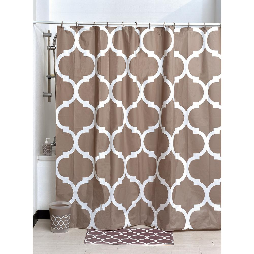 Evideco 71 In X 71 In Taupe Printed Peva Liner Shower Curtain